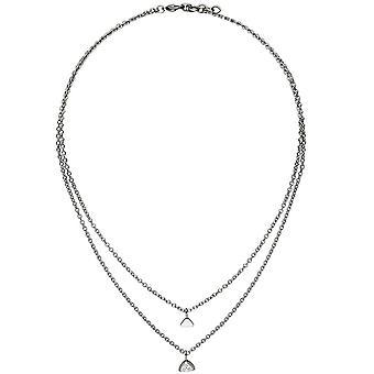 Ожерелье с сердца кулон треугольник 2-строки из нержавеющей стали 3 цирконий ожерелье 45 см