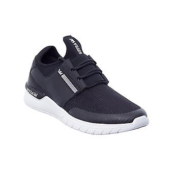Supra Black-Black-White Flow Run Shoe