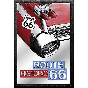 مرآة الطريق 66 ' كاديلاك 59، المطبوعة مع الإطار البلاستيك الأسود في الخشب.