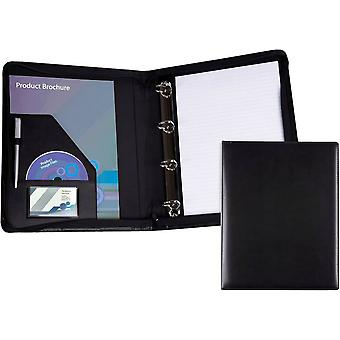 David Van Hagen A4 Zip Round Ring Binder - Black