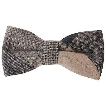 Knightsbridge Neckwear Large Check Bow Tie - Beige/Black/Brown