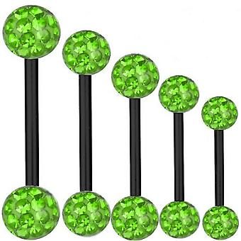 Piercing barra titanio negro 1, 6 mm, múltiples bolas de cristal verde | 6 - 40 mm