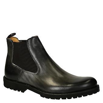 Becerro gris oscuro chelsea cuero hombre botas con suela de goma