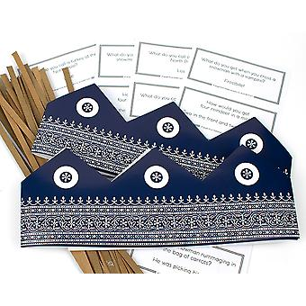 Blue Moroccan Adjustable Paper Hats, Snaps & Christmas Jokes for Cracker Making Crafts - 10 or 25 Pack