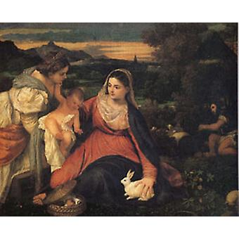 The Virgin with the Rabitl, Titian, 40 x 50 cm