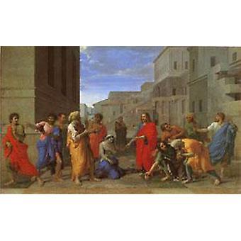 المسيح والمرأة اتخذت في الزنا، نيكولا بوسان، 40x60cm مع علبة