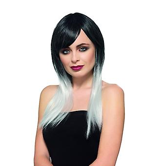 Deluxe ombre wig ladies wig black white and Carnival Halloween accessory