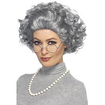Bestemor Kit, grå, med parykk, briller & perlekjede