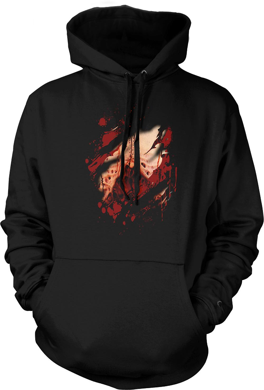 Mens Hoodie - Zombie Undead Gory Lungs Ripped Design