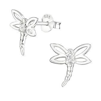 Dragonfly - 925 Sterling Silver Cubic Zirconia Ear Studs - W11705X