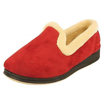 Ladies Padders EE Fitting Red Microsuede Slippers Repose Size 3 UK
