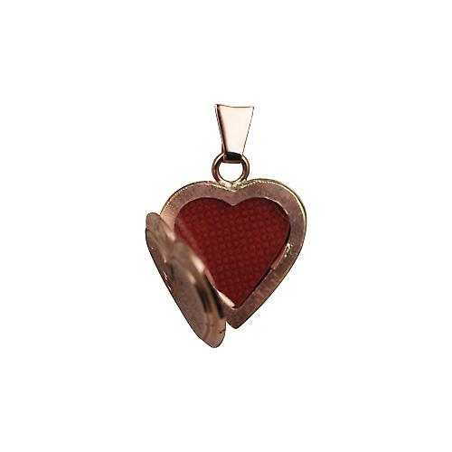 9ct Rose Gold 17x17mm half hand engraved flat heart shaped Locket
