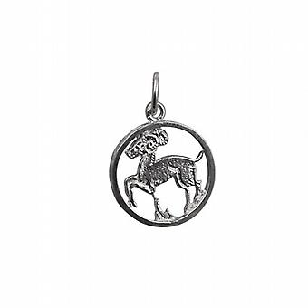 Silver 11mm pierced Aries Zodiac Pendant