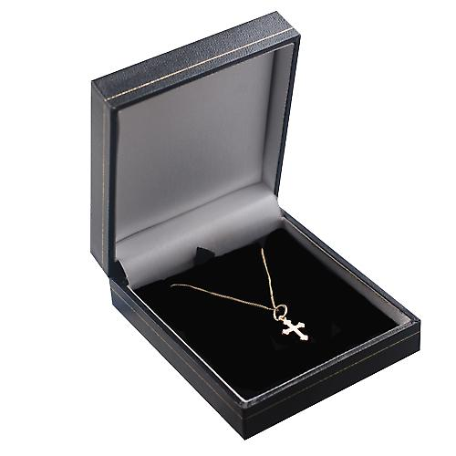9ct Gold 12x9mm Cross symbol of faith Pendant with a curb Chain 16 inches Only Suitable for Children
