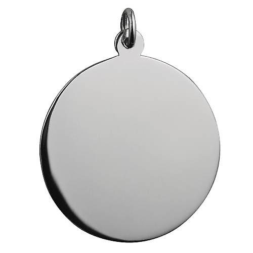 Sølv 30mm rund vanlig runde plate