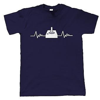 Retro Gaming Joystick and Heartbeat, Mens T Shirt