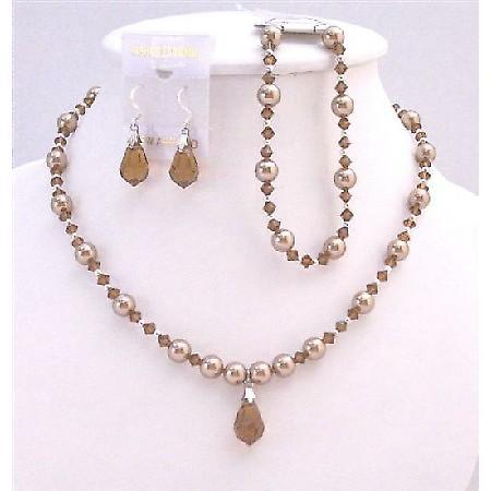 Prom Bronze Dress Teardrop Bronze Pearls & Swarovski Brown Jewelry Set