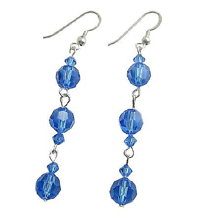 Swarovski Blue Sapphire Crystal Dangling Sterling Silver Earrings