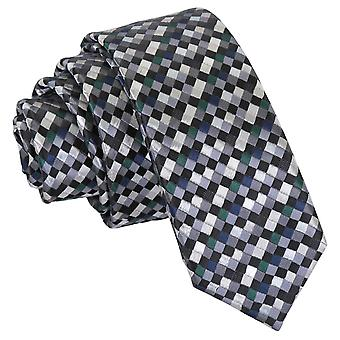 Silver with Black, Green and Navy Chequered Geometric Skinny Tie