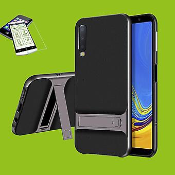 For Samsung Galaxy A7 A750F 2018 standing hybrid case 2 piece grey + tempered glass bag case cover sleeve