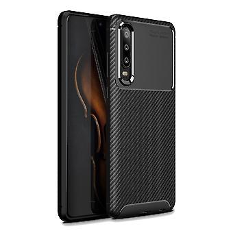 Fibra de carbono de P30 Huawei textura cubierta-negro