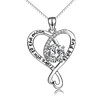 925 Sterling Silver Mirror Heart Pendant With Cz Stones Necklace