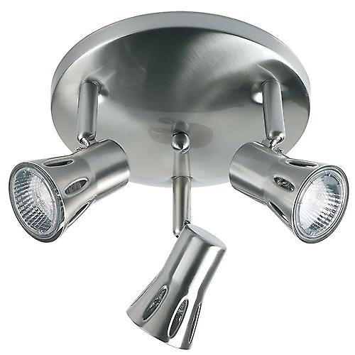 Endon 813-SC Modern Satin Chrome 3 X Gu10 Spotlight Plate With Halogen Bulbs