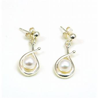 The Olivia Collection Sterling Silver Pearl Fancy Loop Drop Earrings