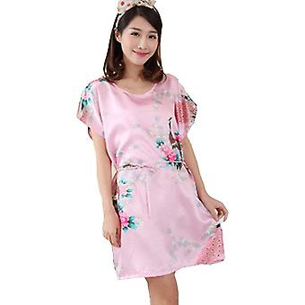 Ladies stylish pajamas nightie dress kimono silk style floral butterfly