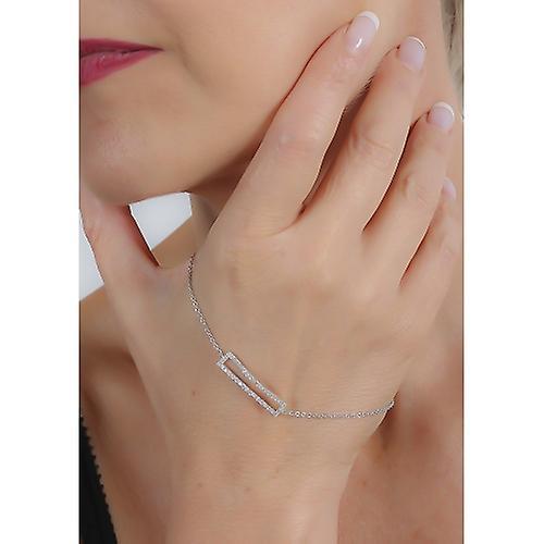 Bracelet Argent Rhodié Rectangle Avec Cubic Zirconia 18cm