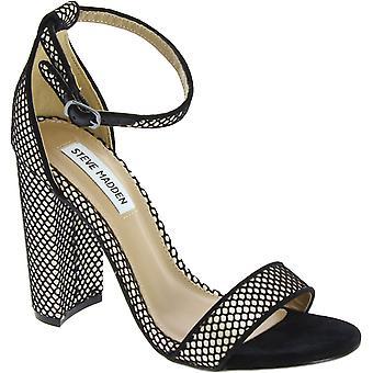Steve Madden Damen Knöchel Riemen High Block Heels Sandalen aus schwarzem Stoff