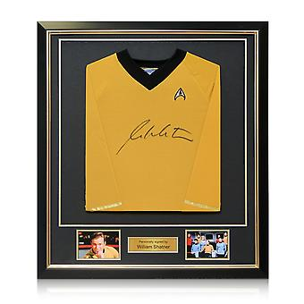 William Shatner Star Trek chandail autographié de luxe cadre noir avec incrustation or