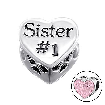 Heart Sister - 925 Sterling Silver Jewelled Beads - W10078X