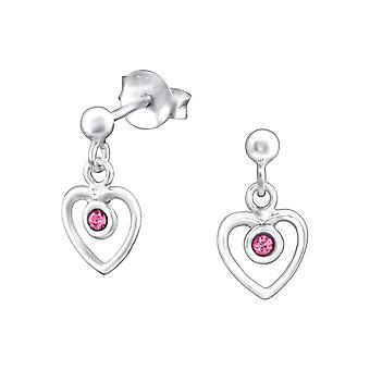 Hanging Heart - 925 Sterling Silver Crystal Ear Studs - W32024X