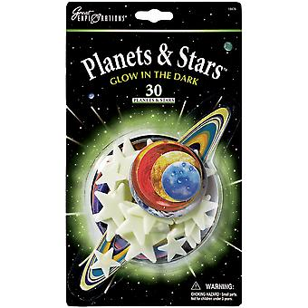 Glow In The Dark Pack Planets & Stars 30 Pkg Glow 19476