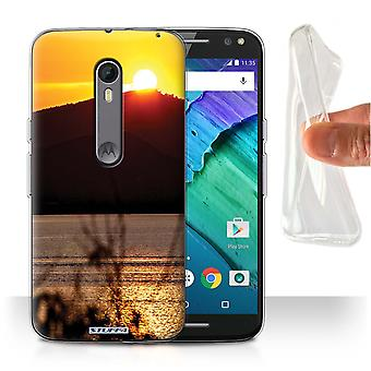 STUFF4 Gel/TPU Case/Cover for Motorola Moto X Style/Mountain Top/Sunset Scenery