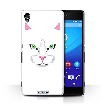 STUFF4 Case/Cover for Sony Xperia Z4v/E6508/White Cat/Animal Faces