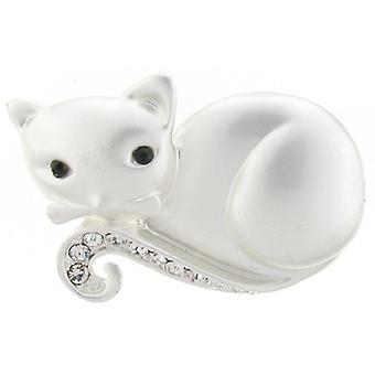 Brooches Store Matt Silver and Clear Crystal Lying Down Cat brooch