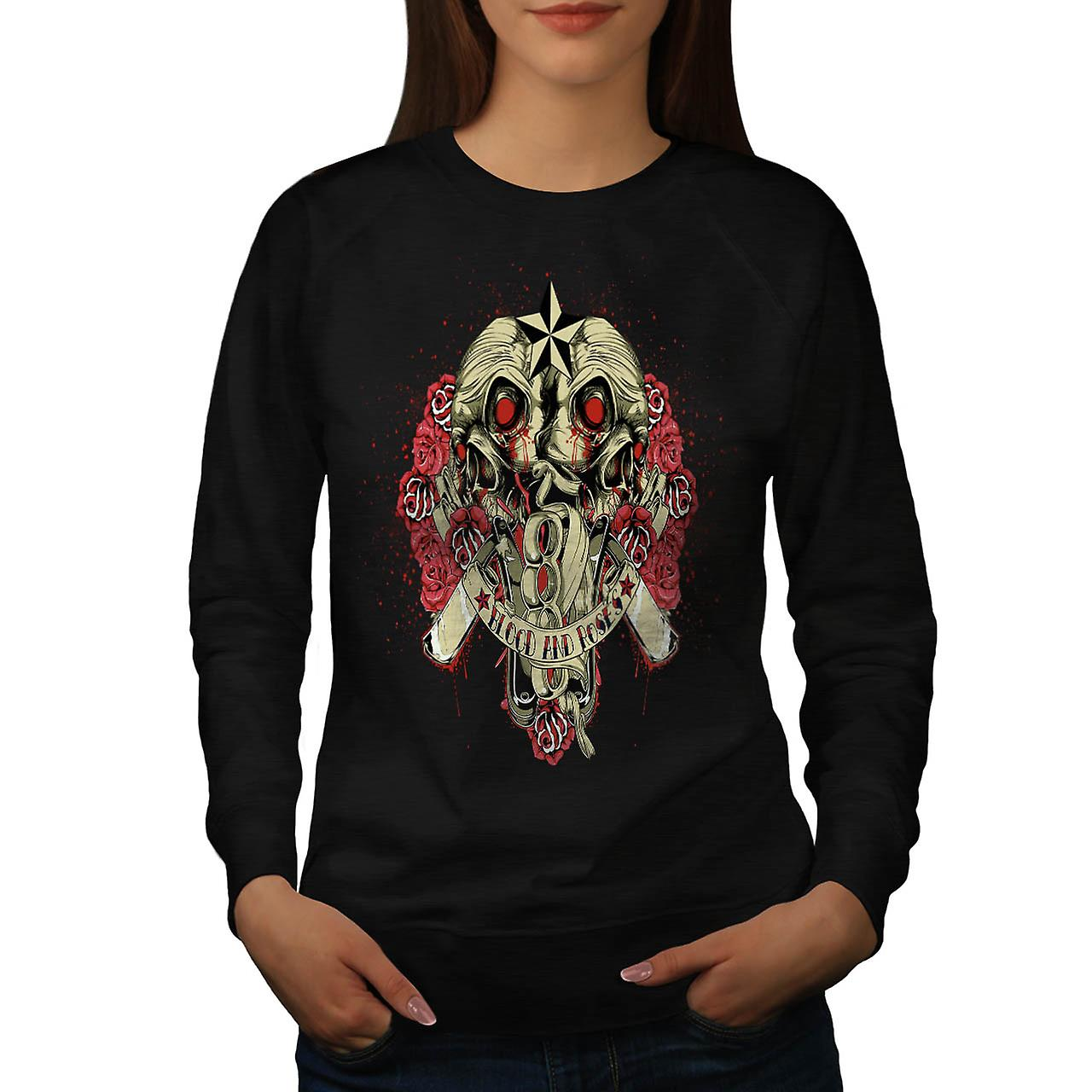 Blood And Roses Fear Flower Love Women Black Sweatshirt | Wellcoda