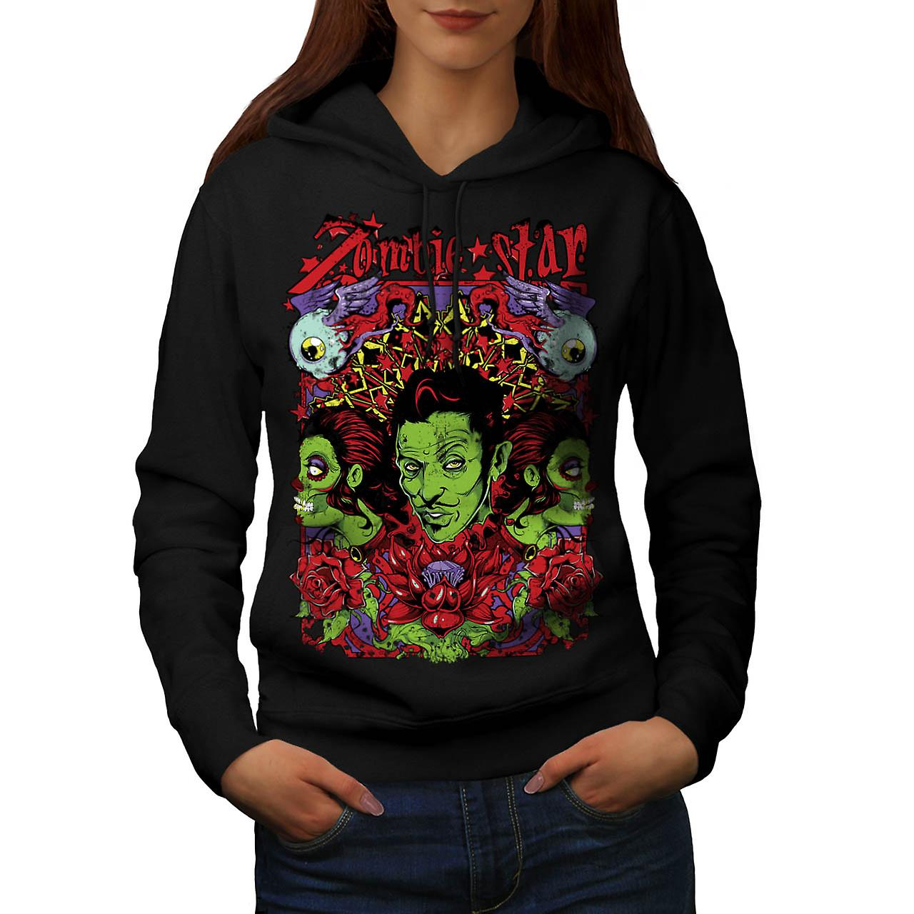 Zombie Star Group Wax Eye Angel Women Black Hoodie | Wellcoda