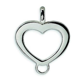Sterling Silver Heart Shaped Charm Carrier Pendant - 2.2 Grams - Measures 24x19mm