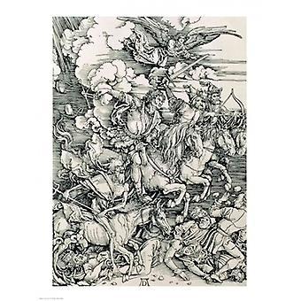 Czterech Jeźdźców Apokalipsy śmierci klęska zarazy i wojny Poster Print przez Albrecht Durer (18 x 24)