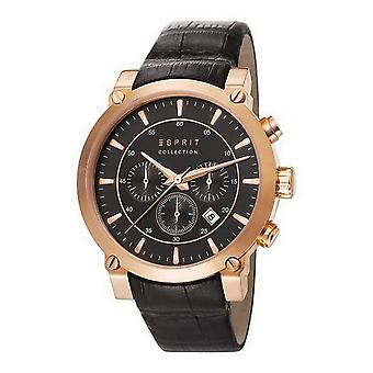 ESPRIT collection mens watch watch of Chrono Poros leather EL102121F06