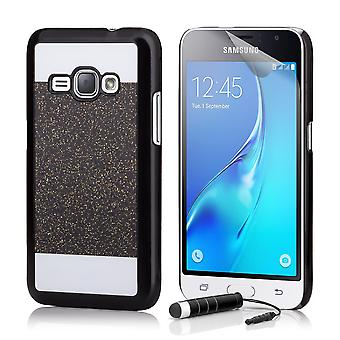 Glitter case + stylus for Samsung Galaxy J1 (2016) - Black
