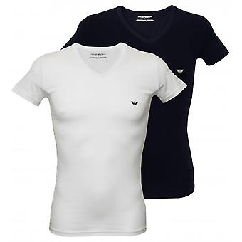Emporio Armani 2-Pack Stretch Cotton V-Neck T-Shirts, White/Navy