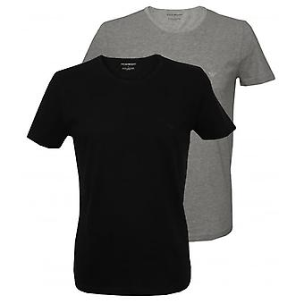 Emporio Armani 2-Pack Pure Cotton Crew-Neck T-Shirts, Black/Grey