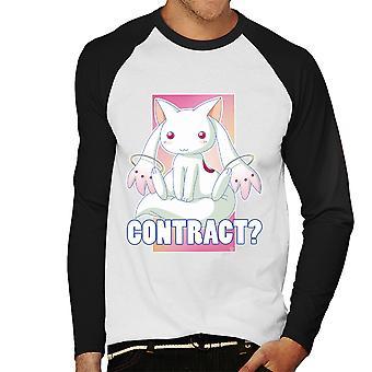 Kyubey Contract Puella Magi Madoka Magica mannen honkbal lange mouwen T-Shirt