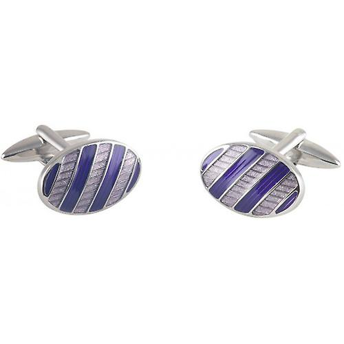 David Van Hagen Two Tone Epoxy Oval Cufflinks - Silver/Purple