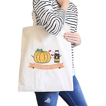 Pumpkin Spice Natural Canvas Tote Heavy Cotton Matching Couple Gift