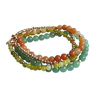 Gemstone bracelets set Aventurine jade pyrite bracelet set gold plated
